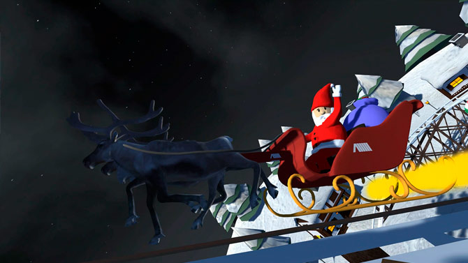 Papa Noel en subida de montaña rusa 3D VR